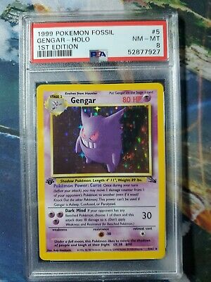 1999 Pokemon Fossil 1st First Edition #5 Gengar Holo PSA 8 NM MINT
