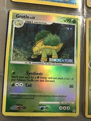 GROTLE - 49/130 - Diamond & Pearl STAMPED - Reverse Holo - Pokemon Card MINT GEM