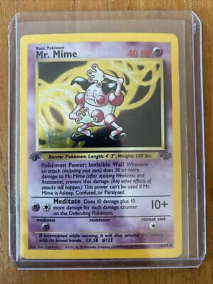 1999 Pokemon Mr. Mime First Edition Jungle Holo 6/64 - NM Base Set