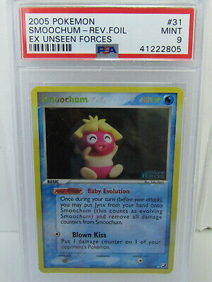 PSA 9 2005 Pokemon EX Unseen Forces Smoochum REVERSE FOIL #31/115
