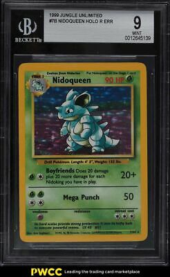 1999 Pokemon Jungle No Symbol Holo Nidoqueen R Err #7B BGS 9 MINT