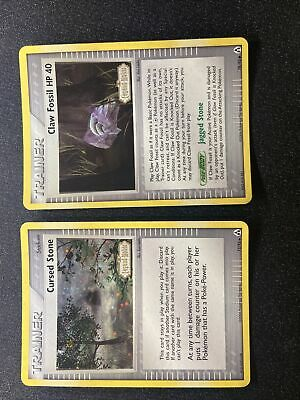 Cursed Stone & Claw Fossil 72 & 78/92 Holo Ex Legend Maker STAMPED Pokemon Cards