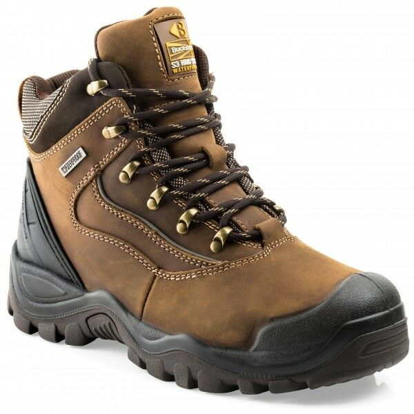 44d9587c9b8 Buckler BSH002BR Waterproof Anti-Scuff Safety Work Boots Brown (Sizes 6-13)