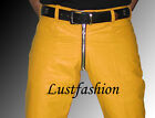 mens leather pants 28 30 31 32 33 34 36 38 40 yellow leather trousers gay pants