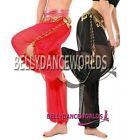 BELLY DANCE COSTUME CHIFFON HAREM PANTS GOLD COINS 9CLR