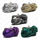 Satin Metallic Floral Rose Pleated Evening Clutch Bag