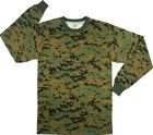 T Shirt Long Sleeve Woodland Digital Marine Camouflage