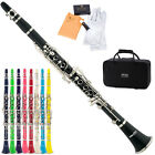 Mendini Black Blue Green Pink Purple Red White Bb Clarinet +CareKit+11Reeds+Case