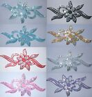 10 x FABRIC SEQUIN FLOWER BORDER A IRON-ON HOTFIX DANCE COSTUME TSHIRT PATCHES