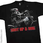 NEW Fantasy Biker Freedom Rider Skull Motorcycle Shut up & Ride Shirt  M L XL 2X