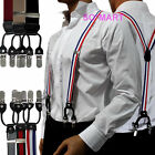 Mens Men Man Braces adjustable Elastic 6 clip-on Suspenders Y Shape Black Khaki