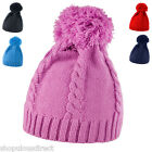 Cable Knitted Retro ribbed Beanie Hat Woolly Winter Warm Skiing 80's pom pom