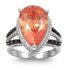 925 Sterling Silver Ring W/ Champagne Cubic Zirconia Stone CZ Sz 5 to 9