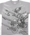 NEW Music Light Rock Guitar Wings Skull Rock Skeleton Premium T Shirt  M L XL 2X
