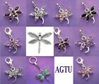 Clip On Silver Plated Dragonfly with Crystals Charm (Pick your colour
