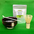 Matcha Green Tea Ceremony Set, Uji Matcha, Bowl, Whisk and Scoop. Organic, Gift