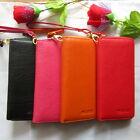 Womens Genuine Leather Bag Long Clutch Zipper around Wallet Case Purse 1014