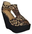 NEW WOMEN'S LEOPARD PRINT PEEP TOE CONTRAST COLOUR WEDGES AVAILABLE IN SIZE 3-8