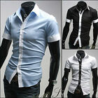 AD01 New Mens Sexy Casual Slim Fit Short Sleeves Dress Shirts 3 COLOUR