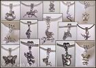 Tibetan Silver Animal Dangle Charm Bracelet Beads Dogs Cats Horses Tiger Frog