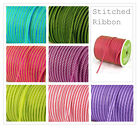5 metre Centre Stitched Ribbon - 7 Vibrant Colourways - Cards, Gifts, Tags
