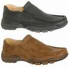 Mens Leather Lined Slip On Leisure Shoes in Black or Brown Size 6 7 8 9 10 11 12