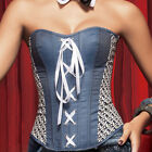 Brand New Sexy Strapless Comfy Denim Lace Up Back Corset Top Bustier sz S - 2XL
