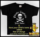 KIDS CUSTOM PIRATE SKULL CROSS BONES  TSHIRT   AGES FROM 1-2 to 13 YRS