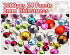 1000pcs Shiny Flatback 14 Facets Resin Rhinestone Gems Nail Art Tips Cards 2mm
