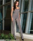 Sex y Checker Board Bodystocking with Spaghetti Straps and Open Crotch - Catsuit