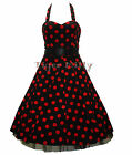 HEARTS & ROSES H&R 50's BIG POLKA DOT rockabilly DRESS RED