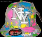 Paint Splash Grey Flat peak caps, baseball NY multi fitted hats, bling, retro