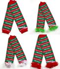 XMAS Baby Girls Merry Christmas Leg Warmer Legging with Colorful Ruffles