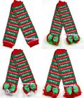 XMAS Baby Girls Merry Christmas Leg Warmer Legging with Ruffles and Bow Ribbon