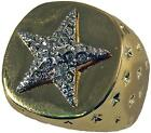GENTS 18 CARAT GOLDPLATED LUCKY STAR CZ RING 18 CT 18K GP