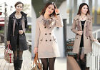 2012 HOT Womens Lady Double-Breasted Long Trench Jacket Scarf Coat Outwear C30