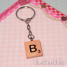 FUNKY WOODEN VINTAGE SCRABBLE STYLE KEY RING INITIAL LETTER MUM DAD XMAS GIFT
