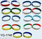 Country Flag Silicone/Rubber Wristbands Puerto Rico,Jamaica,Barbados,Mexico