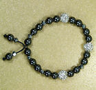 VoE Boutique Genuine Hematite Austrian Crystal & Glass Friendship Bracelet
