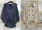 Double Breasted Womens Windbreaker Outerwear Dress Top Poncho Coat Jacket 2Color