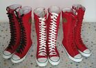 Women Girl Punk Rock EMO Red White Canvas lace up boots shoes sneaker knee high