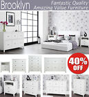 BROOKLYN Ivory White bedside table, wardrobe, tv stand media chest of drawers