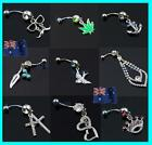 14G 316L Rhinestones Eye-catching Belly Dance Ring Navel Bar Studs  PROMOTION!!!