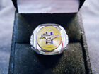 Classic 60s Style MUSTANG PONY Relief Cloisonne Nickel Silver Ring Yellow Chrome