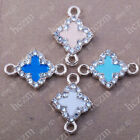 10pcs crystal rhinestone cross four leaf clover colver charms necklace connector