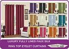 Designer Faux Silk Fully Lined Eyelet Ring Top Curtains in 4 Sizes & 12 Colours