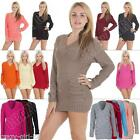 New Womens Ladies Sexy 14 Button V Neck Jumper Dress Size S M L XL 8-10-12-14