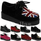 LADIES WOMENS FLAT SHOES LOAFERS LACE UP GOTH PUNK PLATFORM CREEPERS CRUSHERS