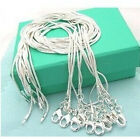 Hot!Wholesale Fashion Jewelry 10pcs 1mm 925silver snake chains necklace+gift box