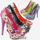 LADIES HIGH HEELS COURT SHOES WOMENS OFFICE SMART PARTY EVENING PLATFORM SHOES